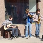 street musicians in the summer sun