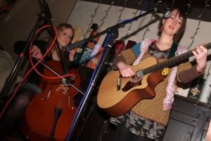 Nicole Strachan with a friend on cello